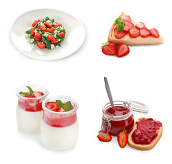Collage of different dishes with strawberry on white background