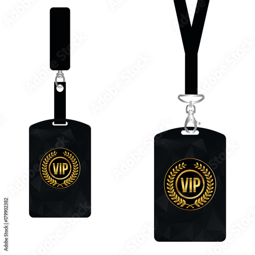 Vip Member Card Set With Lanyard Vector Design And Text Template - Free lanyard template