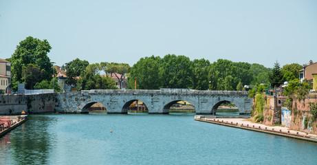 The bridge of Tiberius in Rimini, Italy.