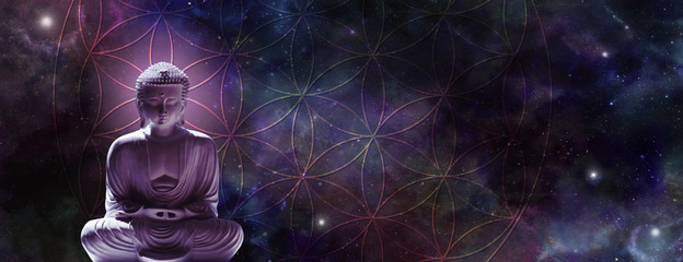 Poster Boeddha Cosmic Buddha meditating on the Flower of Life - Lotus position buddha on left with a magenta glow against a wide dark starry night background and the Flower of Life symbol