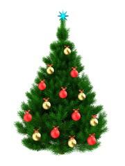 3d dark green Christmas tree over white
