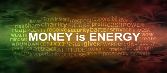 Money IS energy Word Cloud Banner - a green gold and red flowing energy formation background with a MONEY IS ENERGY word cloud