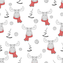 Christmas pattern with cute elks. Vector seamless winter background.