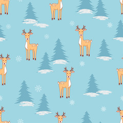 Christmas seamless pattern with cute deers. Vector winter background.