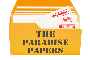 The Paradise Papers, leak concept. 3D rendering
