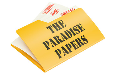 The Paradise Papers, leak of data concept. 3D rendering