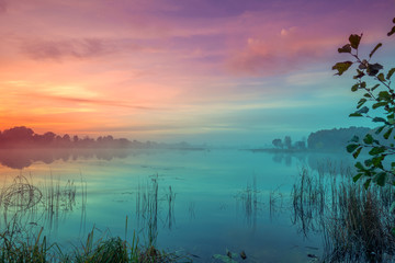 Early morning, dawn over the lake. Misty morning, rural landscape, wilderness, mystical feeling