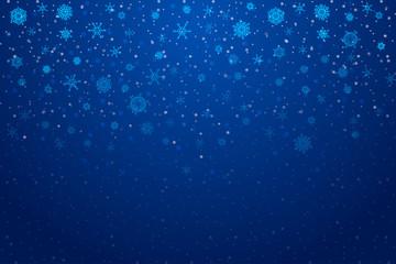 Christmas snow. Falling snowflakes on deep blue background. Snowfall. Vector illustration, eps 10.
