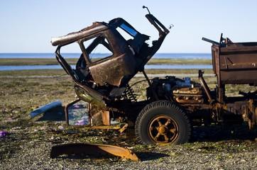 abandoned machinery on the polar island