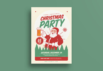 Christmas Party Flyer with Santa and Beer