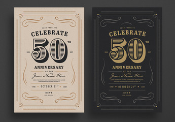 Vintage Anniversary Invitation Flyer