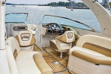 Interior of luxury yacht.