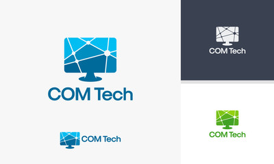 Computer Technology logo template, Computer Network logo designs vector