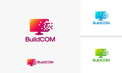 Build Computer logo template, Pixel Computer Technology logo designs vector