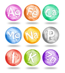 Group of chemical minerals and microelements in the form of spheres made of water