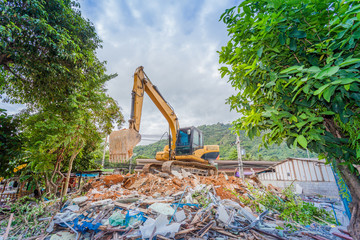 Demolition of buildings Having to use a machine such as the backhoe to demolish can save time and save human labor.