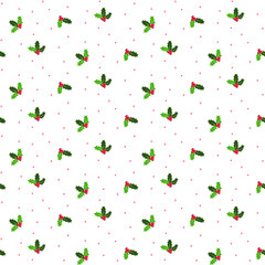 MISTLETOE SEAMLESS VECTOR PATTERN. CHRISTMAS DECORAIVE BACKGROUND