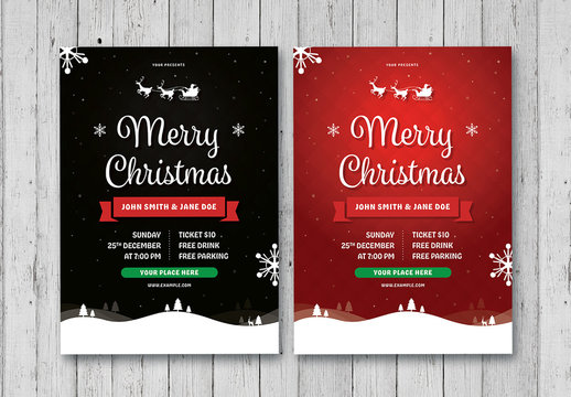 Christmas Flyer Layout in Red and Black