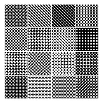 Black and White Geometric Pattern Set - Abstract Vector Old-Fashioned Motif