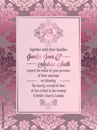 vintage baroque style wedding invitation card template fotolia com