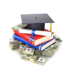 Concept, the cost of education. A graduate's cap with a diploma and books on a bundle of dollar bill. 3d illustration
