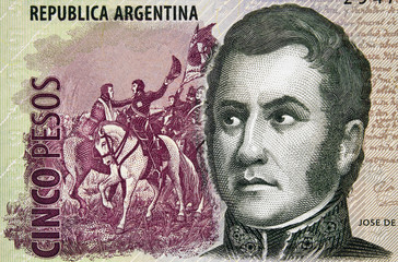 Jose de San Martin face portrait on Argentina 5 pesos (2013) closeup macro, Argentine general and liberator of Argentina, Chile and Peru..