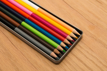 Lot of colorful pencils - rainbow colors