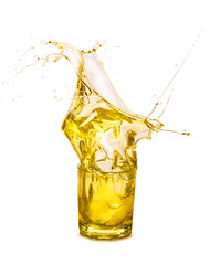 a splash of sunflower oil isolated on a white background
