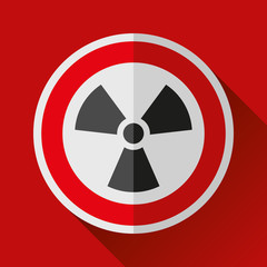 Radiation sign icon in flat style on red background, vector design toxic illustration for you project