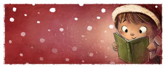 niño leyendo un libro en navidad