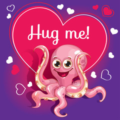 Cartoon octopus ready for a hugging