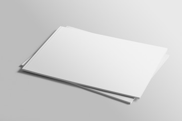 Foto op Canvas Bleke violet Blank A4 photorealistic landscape brochure mockup on light grey background.