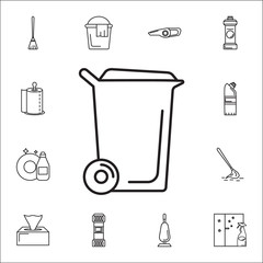 Washing powder box icon. Set of cleaning tools icons