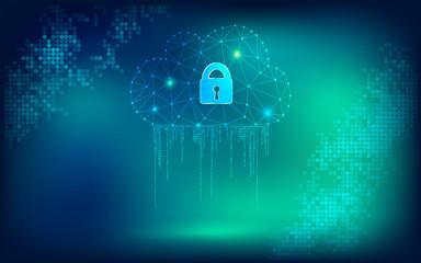 Vector  Digital Data Cloud Service Web Security Background