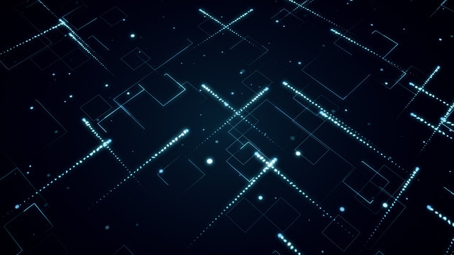 Abstract technologic background with stripes and particles 3d illustration