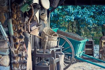 Old farm objects stored in a barn - Horse wagon - Gramado city, Rio Grande do Sul, Brazil.