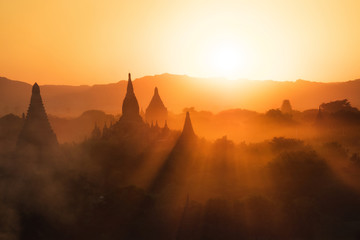 Sunset over the ancient temples of Bagan, Myanmar (Burma). Wall mural