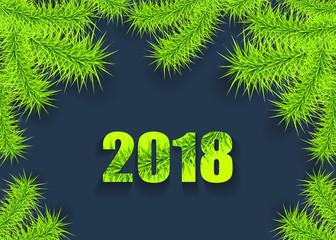 Christmas or New Year background with tree branch light green on dark creative trend style for congratulation or invitation with Merry Christmas or New Year or for celebration winter  holiday
