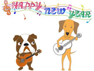 2018年の年賀状素材の犬のコンサート