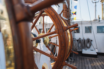 Steering Wheel Of Big Sailing Ship