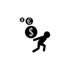 currency dizziness. currency floating around a persons icon. Finance elements. Premium quality graphic design. Simple icon for websites, web design, mobile app, info graphics