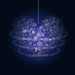 クリスマスイメージ 紺|雪の結晶で描いた星のオーナメントの背景|Christmas ornament
