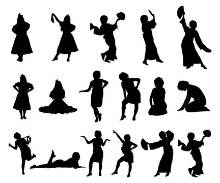 Silhouettes of girls in dresses, with a scarf and with a fan. Dancing, sitting, standing girls. Vector illustration.