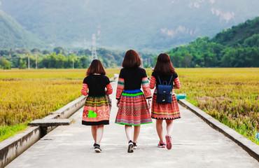 Mai Chau, Vietnam - November 4, 2017:H'mong ethnic minority women her behind back, Mai Chau, Hoa Binh, Viet Nam