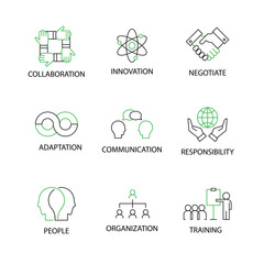 Modern Flat thin line Icon Set in Concept of Soft Skills with word Collaboration,Innovation,Negotiate,Adaption,Communication,Responsibility,People,Organizetion,Trainning. Editable Stroke.