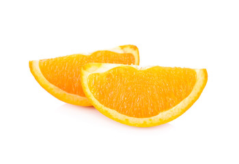 slice Navel/Valencia orange on white background