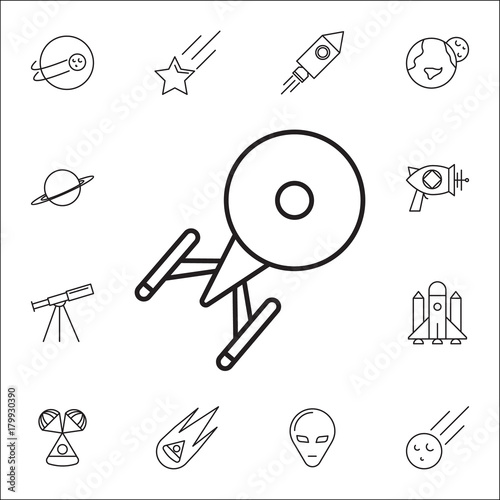 Ufo Icon Set Of Space Icons Signs Outline Symbols Collection