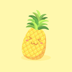 Cute Pineapple Fruit Vector Cartoon mascot illustration isolated on yellow background.