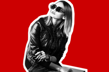 Wall Mural - Fashion collage in magazine style of young hipster woman in sunglasses.