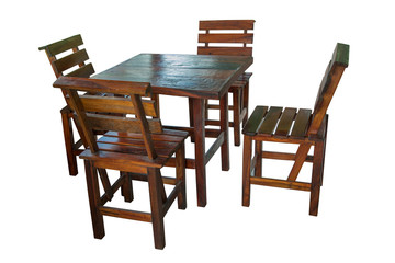 Wooden table and chairs set isolated.